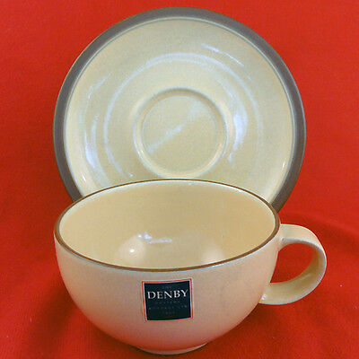 JUICE - LEMON YELLOW Denby CUP AND SAUCER SET NEW NEVER USED  Made in England