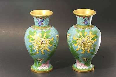 Pair of Antique Chinese Cloisonne Vase 24 cm in Height