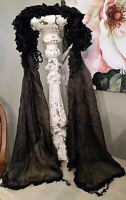 Antique Black Mourning Bonnet & Scarf Ruffled Victorian Edwardian Silk Neck Coll