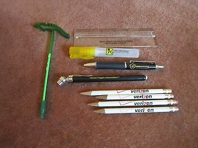 Verizon, Yellow Pages Ad Collectibles Pencils Alligator Pen Tire Gauge MORE