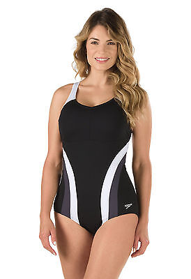 New Speedo Fitness Swimsuit 10 Active Black Grey White 1 Piece 100 % Polyester