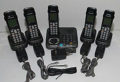 Panasonic KX-TG6445T Cordless Wireless Phone System Answering Machine 5 Handsets