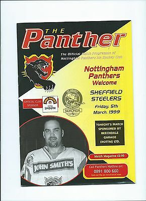 98/99 Nottingham Panthers v Sheffield Steelers   Mar 5th Mint