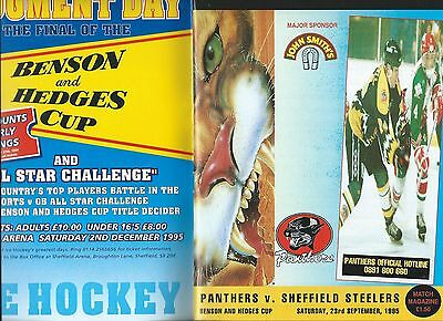 95/96 Nottingham Panthers v Sheffield Steelers B and H  Sept 23rd    Mint