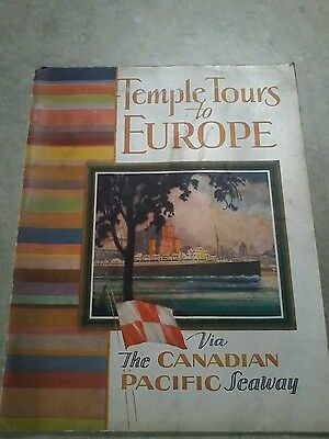 1930 Canadian Pacific Seaway Steamship Tours To Europe Booklet