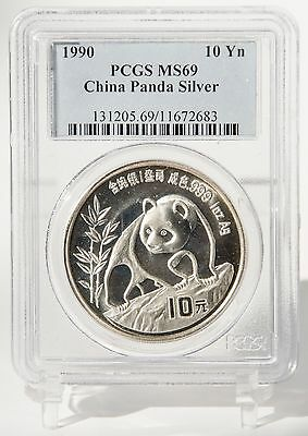 1990 China Silver Panda 10Y PCGS MS69 1 OZ