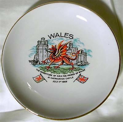 Vintage China Plate 1969 Royal Investiture Prince Charles Wales Dragon Castle