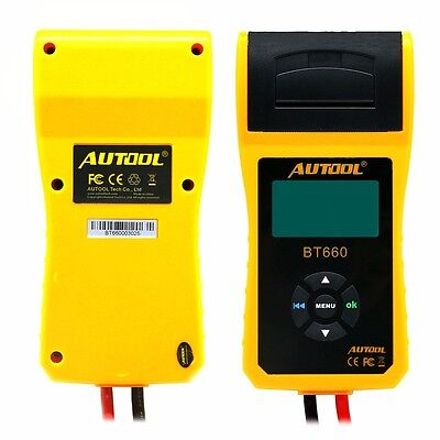 AUTOOL BT-660 12V Battery Tester Cranking Lead Acid GEL AGM EBP with Printer