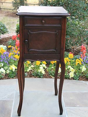 Antique French Country Dark Oak Side Cabinet Nightstand End Table