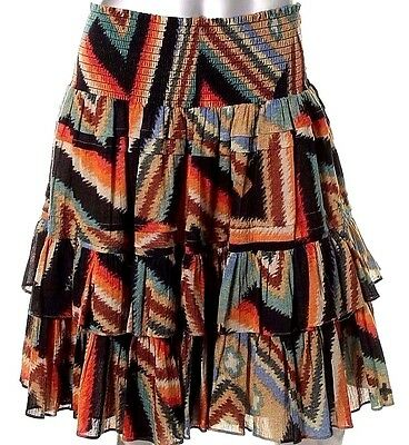 Ralph Lauren Indian Southwestern Tribal Layered Flare Ruffle Skirt 4 6 12 14 18
