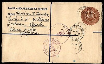 0.20 Rate Sierra Leone West Africa 1973 Registered Letter To Us