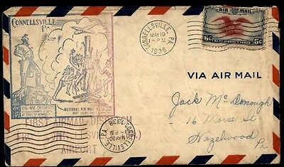 Connellsville Pa May 19 1938 National Air Mail Week Cachet On Air Mail Cover