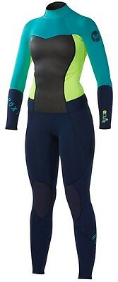Quiksilver Roxy Womens Teal Neon Syncro 3/2MM Full BZ Wesuit NWT Size 4