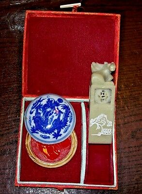 "Carved Chinese Soapstone Dragon Seal Stamp in Box with Dish & Wax & Box ""SARAH"""