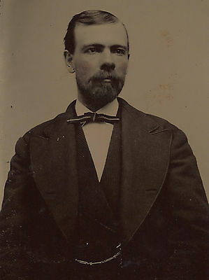 OLD VINTAGE TINTYPE PHOTO of MAN by CONTINENTAL FERROTYPE GALLERY BURLINGTON VT