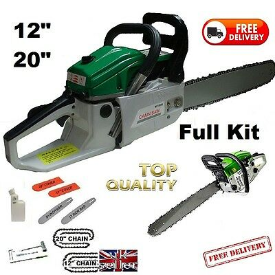 """Petrol Chainsaw 12"""" + 20""""  Complete With 2 x Bars, Chains & Covers 58cc Engine"""