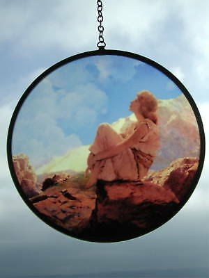 RARE Maxfield Parrish MORNING Stained Glass ART DECO