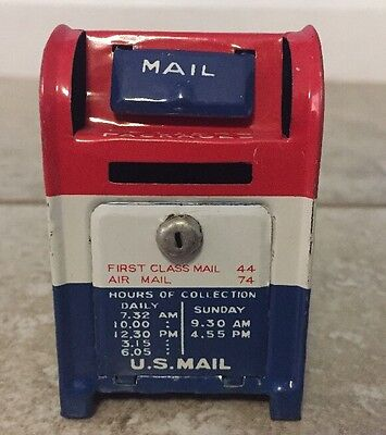 """Rare 2.5"""" Tall U.S. US Mail Box Bank Tin Metal Made In Japan Red White & Blue"""