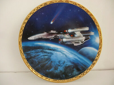 Star Trek The Voyagers Plate Collection 1996 Triple Nacelled Uss Enterprise