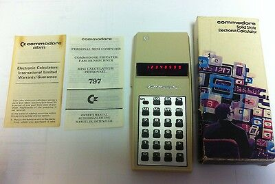 VINTAGE Commodore 797 Calculator RED LED LIGHTS w/ Original Box & Instructions