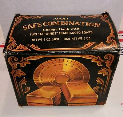 Avon Safe Combination Tin Change Bank With Soaps