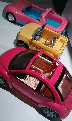 Barbie Car VW Beetle Bug Hot Pink + Pink vintage sportscar + yellow utility 3pc