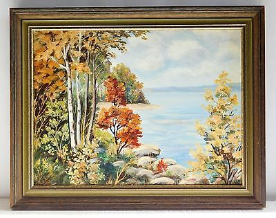 "Original Oil Painting ""Fall Colors"" by E. Williams, 16"" x 12"" Board, Framed"