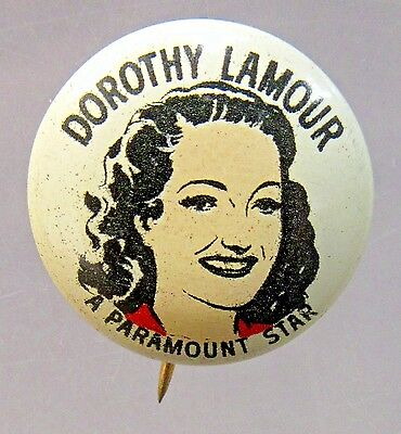 1940's DOROTHY LAMOUR actress Quaker Sparkies cereal premium pinback button *