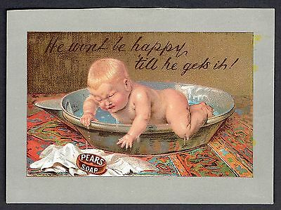 Pears' Soap Trade Card~Naked Baby In Bathtub Reaches For Bar Of Pears' Soap