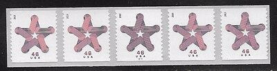 #4749 Patriotic Star Coil of 5 Stamps w/Plate # S1111  MNH EF