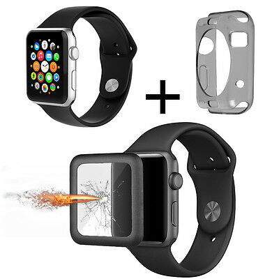 Tempered Glass Screen Full Cover+Silicone Band+Case for 42mm Apple Watch Series1