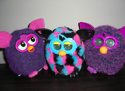 FURBY ~ 3x battery operated furby's ~ triangles + rare purple talking pet toys!