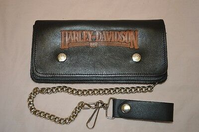 Harley Davidson Motorcycle Biker Leather Wallet with Chain Vintage