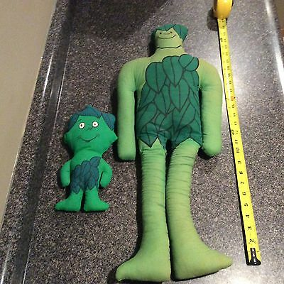 """Vintage Jolly Green Giant Plush And Sprout Stuffed Advertising 27"""" Toy"""