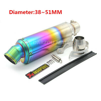 Universal 38-51mm Motorcycle Exhaust Muffler Pipe Silencer Stainless Steel