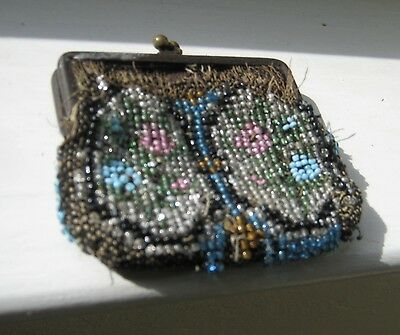 "Sweet vintage small beaded coin purse, 3"" x 3"", missing some beads"