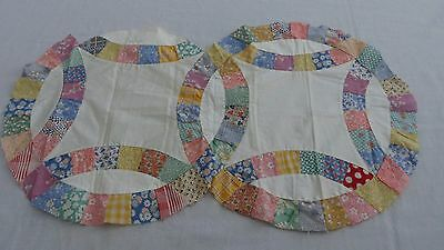 Vintage Unfinished Wedding Ring Panel Quilt Piece