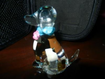 Vtg Clear Hand Blown Glass Puppy Dog Figurine painted PATCHES
