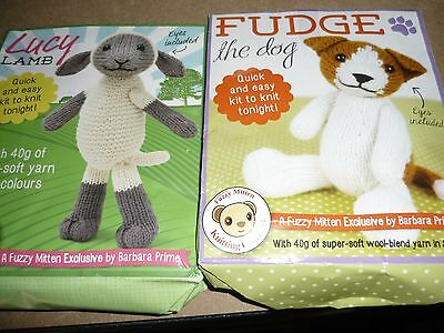 Two Adorable Lucy Lamb & Fudge The Dog Knitting Kits - New
