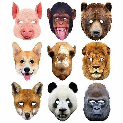 Maskarade Zoo Animals 2D Card Party Face Masks Chimpanzee Lion Panda Camel