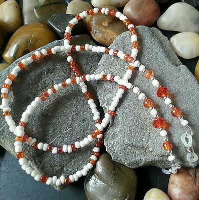 Orange White Beaded Glasses Chain - Spectacle Cord - Holder - neck strap - Gift