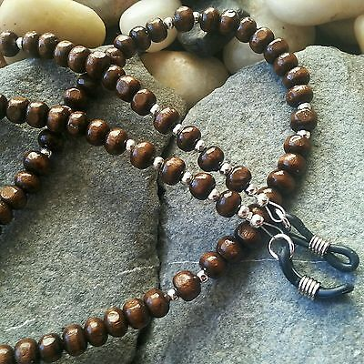 Glasses Chain Brown Wooden Beads - Spectacle Cord - Neck Strap - Beaded