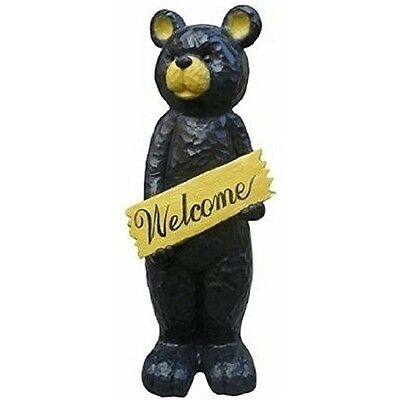 Alpine JFH816 Black Bear Holding Welcome Sign Statue NEW