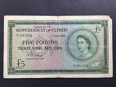 Cyprus Five 5 Pounds P36a QEII Scarce 1st Date Issue 1st June 1955 Fine