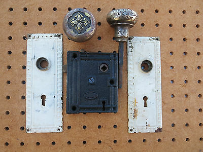 Corbin Lock Entrance Set Victorian Door Knobs Plates Hardware Antique Salvaged