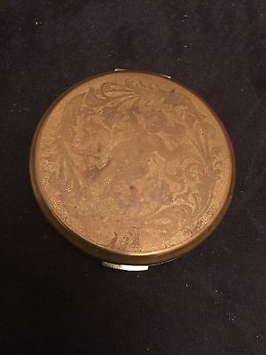 Vintage Stratton Gold Tone Metal Make-up Compact Made in England Cherub