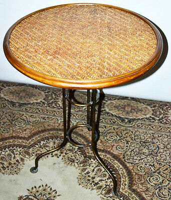 Vintage Wicker Top Occasional Table - FREE Shipping [PL3081]