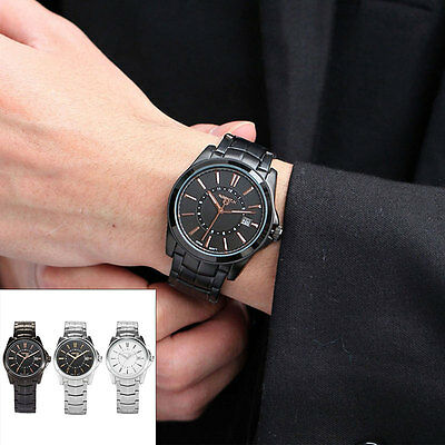 AgentX  Men's Date Stainless Steel Band Military Quartz Sport Wrist Watch + Box