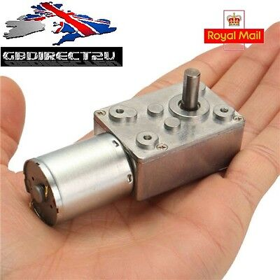 DC 12V 100rpm Worm Gear Reduction Motor Metal Gear Box High Torque Motor NEW UK