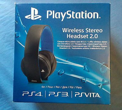Sony PlayStation Wireless Stereo 2.0 - Black Headset for PS4 PS3 PS Vita (Used)
